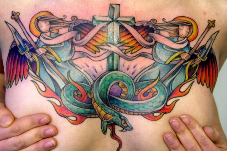 New School Angel Breast Tattoo by Bugaboo Tattoo