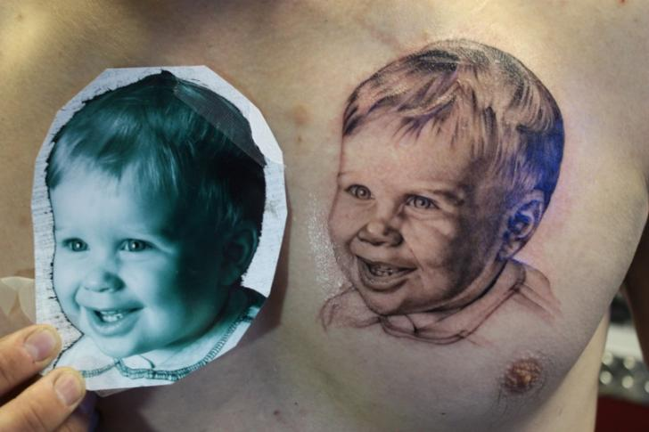 Portrait Realistic Chest Tattoo by Bugaboo Tattoo