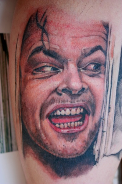 Portrait Realistic Jack Nicholson Tattoo by Bugaboo Tattoo