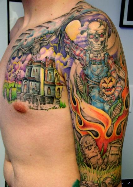 Shoulder Arm Fantasy Chest Tattoo by Bugaboo Tattoo