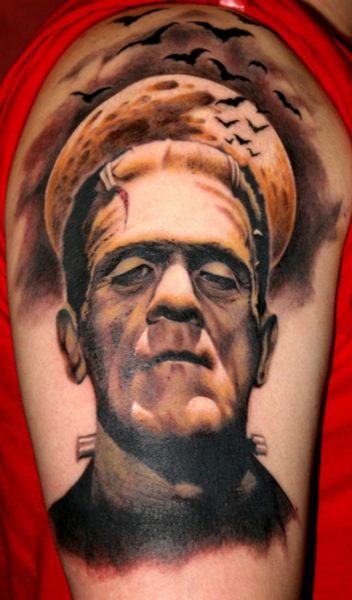 Shoulder Fantasy Frankenstein Tattoo by Bugaboo Tattoo