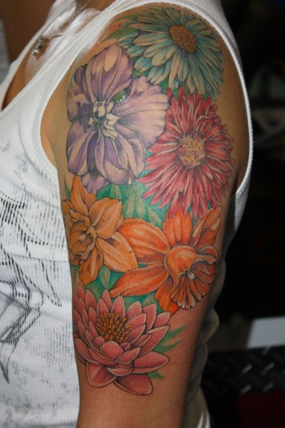 Shoulder Flower Tattoo by Bugaboo Tattoo