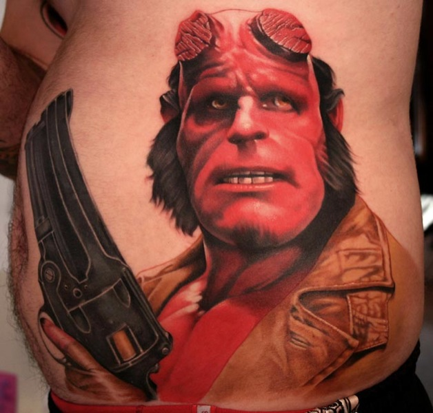 Fantasy Side Hellboy Tattoo by Bugaboo Tattoo