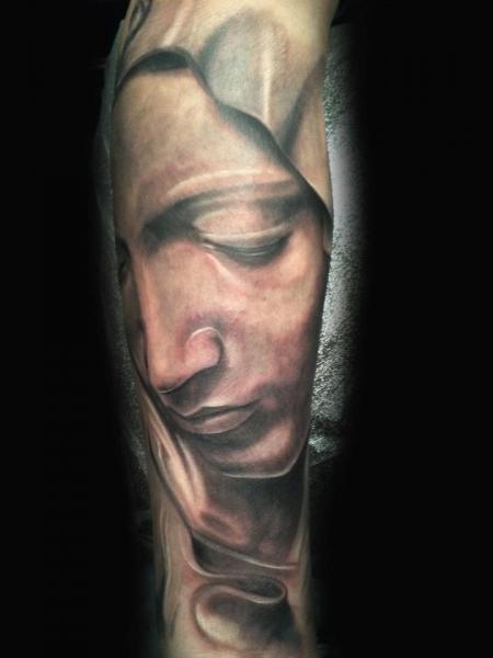 Tatuaje Brazo Religioso por Cartel Ink Works