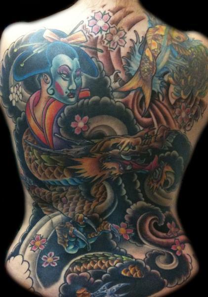 Japanische Rücken Tattoo von Cartel Ink Works