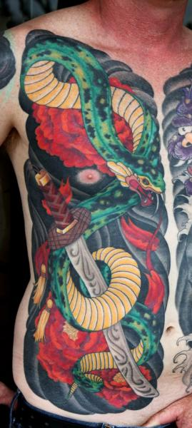 Snake Chest Side Tattoo by Cartel Ink Works