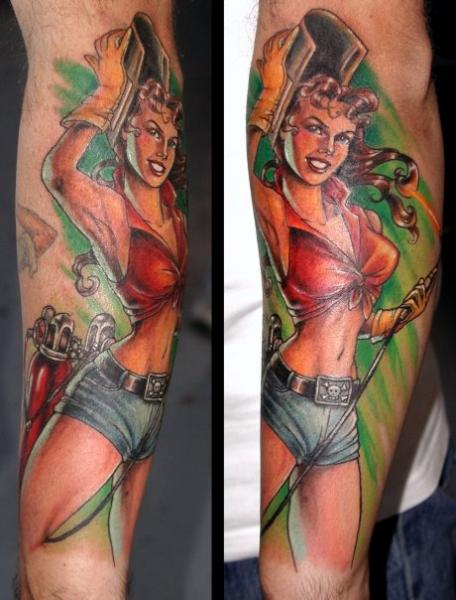 Arm Realistic Pin-up Tattoo by Deluxe Tattoo