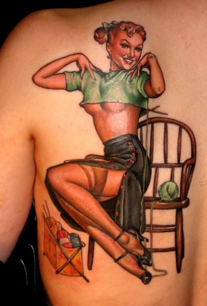 Back Pin-up Tattoo by Deluxe Tattoo