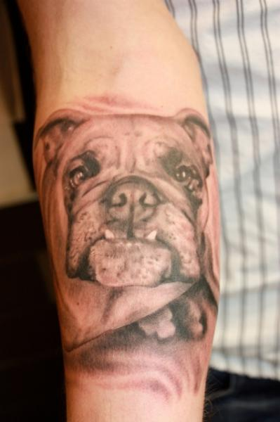 Arm Realistic Dog Tattoo by Richard Vega Tattoos
