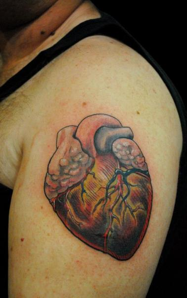 Shoulder Heart Tattoo by Divinity Tattoo