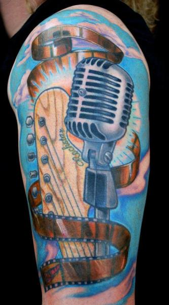 Shoulder Realistic Microphone Tattoo by Divinity Tattoo