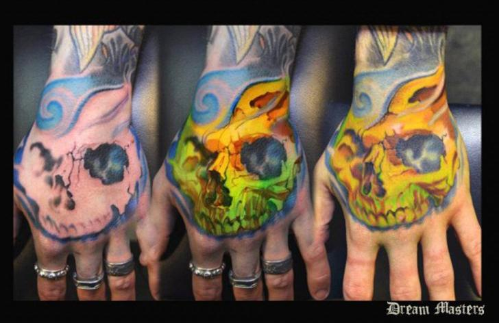 Skull Hand Tattoo by Dream Masters