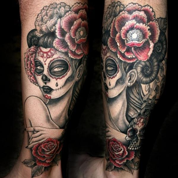 Arm Mexikanischer Totenkopf Tattoo von East Side Ink Tattoo