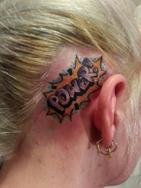 Lettering Head Tattoo by Electric Ladyland