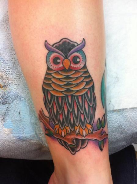 New School Owl Tattoo by Electric Ladyland