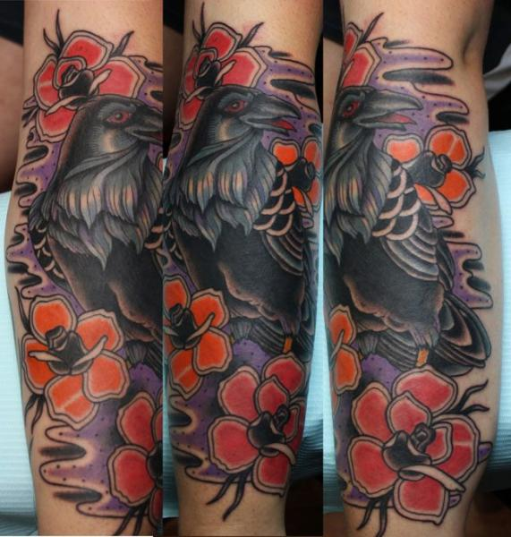 Arm Flower Raven Tattoo by Electric Soul Tattoo