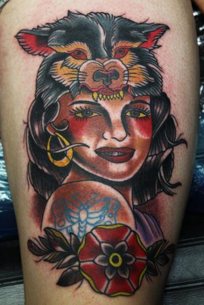 Old School Kopf Tattoo von Electric Soul Tattoo