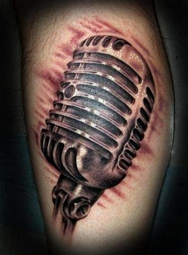 Realistic Microphone Tattoo by Electric Soul Tattoo