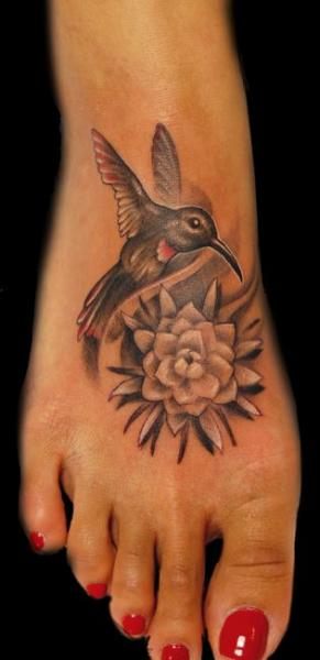 Foot Flower Hummingbird Tattoo by Empire State Studios