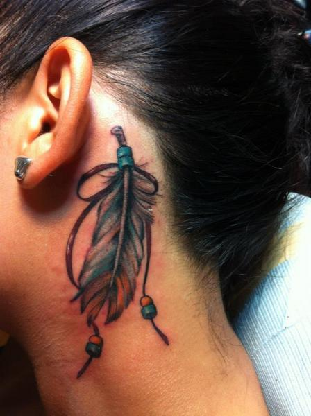 Feather Head Neck Tattoo by Empire State Studios