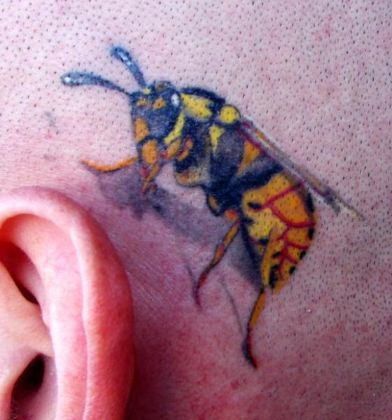 Realistic Head Bee Tattoo by Empire State Studios