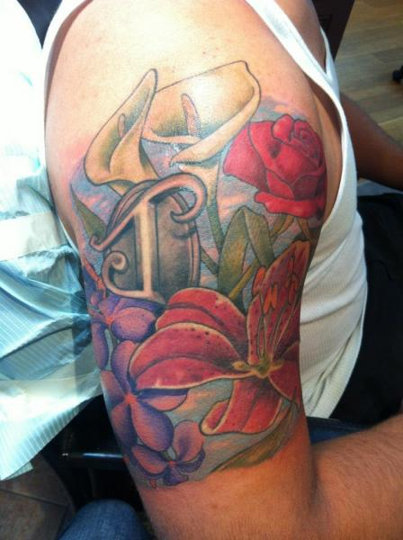 Shoulder Realistic Flower Tattoo by Empire State Studios