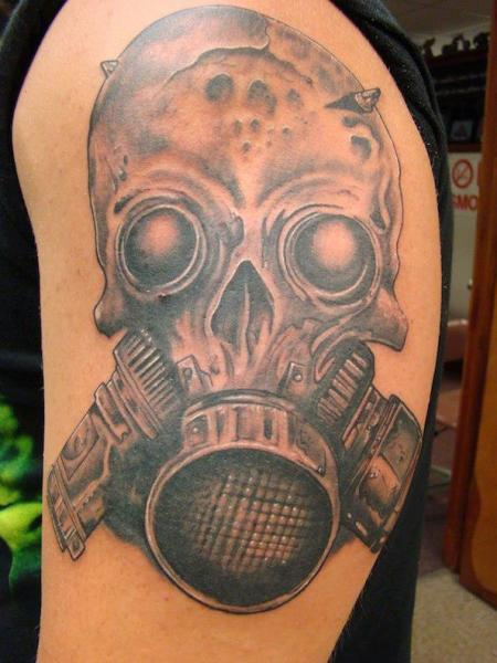 Shoulder Skull Gas Mask Tattoo by Eternal Ink Tattoo