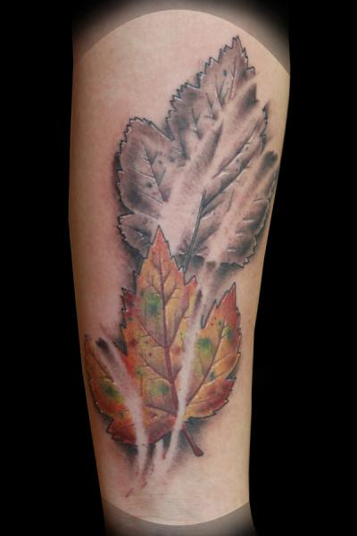 Arm Realistic Leaves Tattoo by Eye Of Jade Tattoo
