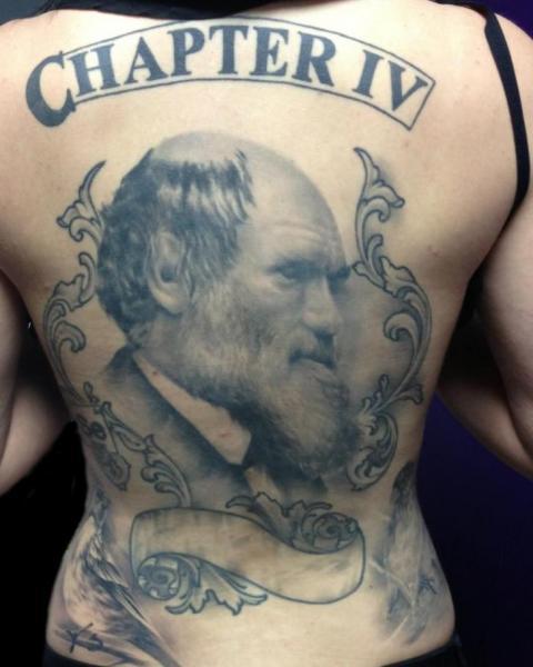 Porträt Realistische Rücken Tattoo von Fixed Army