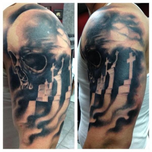 Shoulder Arm Skull Crux Tattoo by Fixed Army