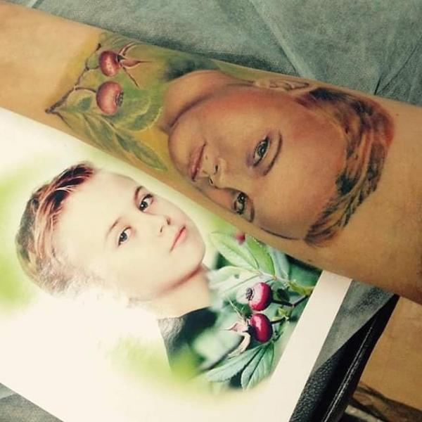 Arm Portrait Tattoo by Bloody Blue Tattoo