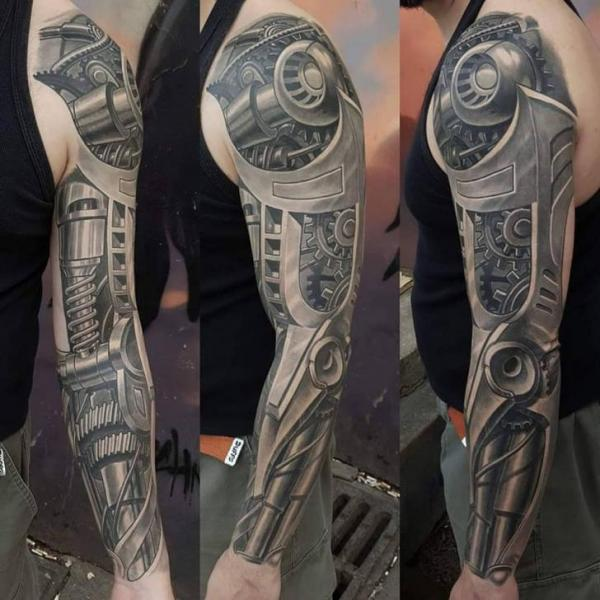 Arm Biomechanical Robot Sleeve Tattoo by Bloody Blue Tattoo