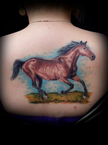 Realistic Back Horse Tattoo by Bloody Blue Tattoo