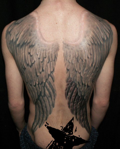 Fantasy Back Wings Tattoo by Bloody Blue Tattoo