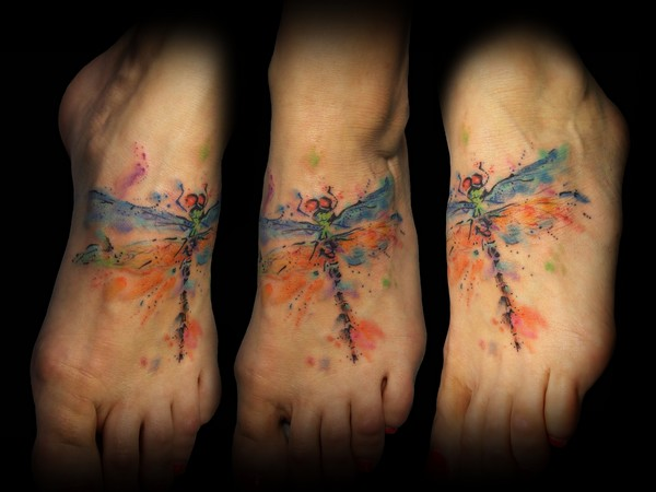 Foot Dragonfly Water Color Tattoo by Bloody Blue Tattoo