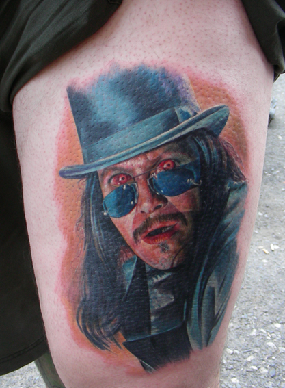 Fantasy Leg Dracula Tattoo by Bloody Blue Tattoo