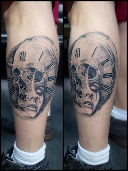 Clock Calf Leg Skull Woman Tattoo by Bloody Blue Tattoo