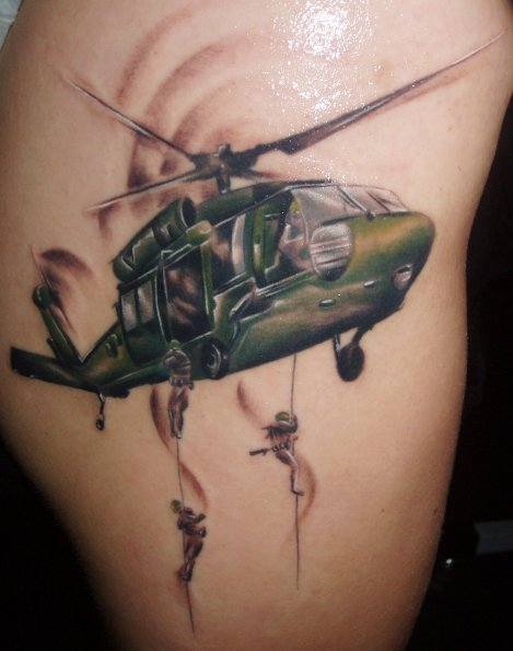 Realistic Helicopter Tattoo by Bloody Blue Tattoo