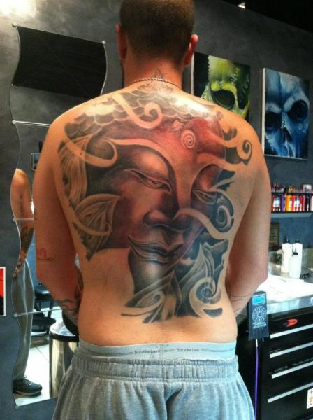 Japanese Buddha Back Tattoo by Flesh Tattoo Company