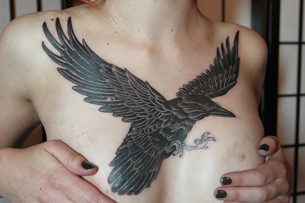 Realistic Crow Breast Tattoo by Full Circle Tattoos