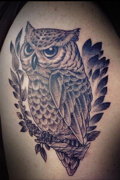 Realistic Owl Tattoo by Full Circle Tattoos
