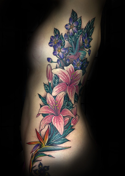 Flower Side Tattoo by Full Circle Tattoos