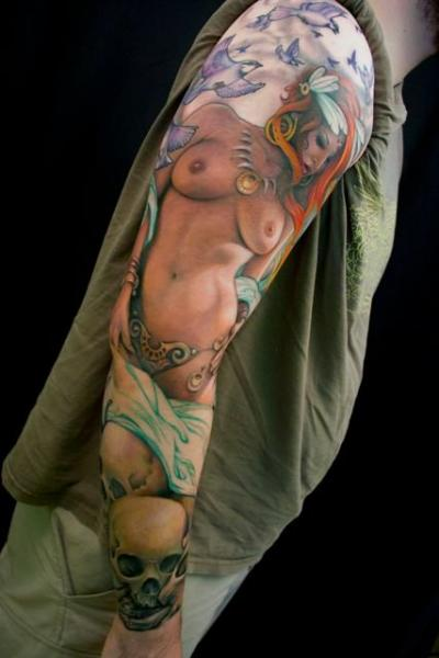 Arm Realistic Skull Women Tattoo by Jeff Gougue