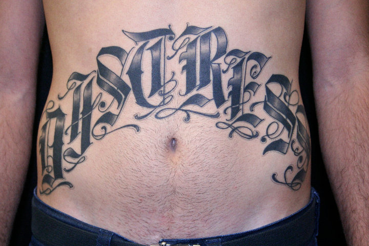 Lettering Belly Tattoo by Gold Rush Tattoo
