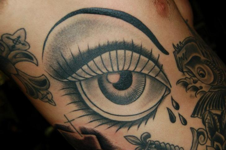 Old School Eye Tattoo by Gold Rush Tattoo