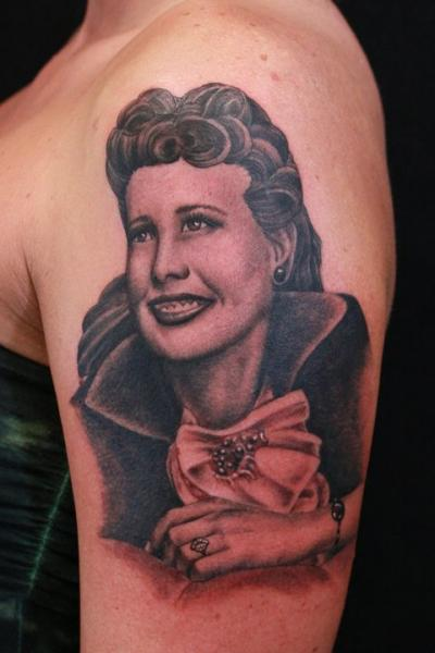 Shoulder Portrait Realistic Tattoo by Gold Rush Tattoo