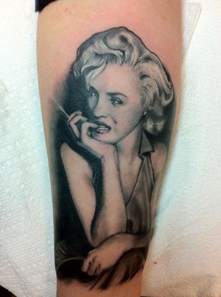 Arm Realistic Marilyn Manson Tattoo by Good Mojo Tattoos