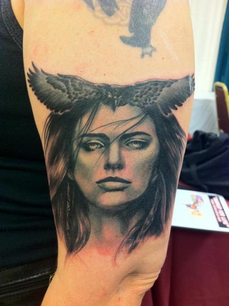Arm Women Crow Tattoo by Good Mojo Tattoos