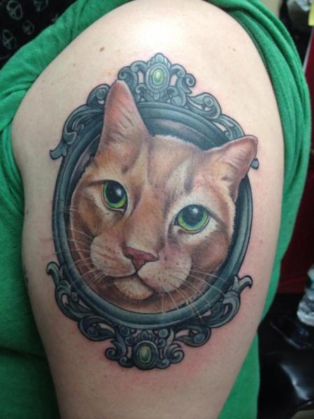 Realistic Mirror Cat Tattoo by Good Mojo Tattoos