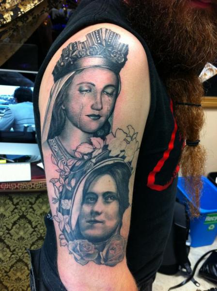 Shoulder Arm Portrait Realistic Tattoo by Good Mojo Tattoos